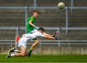 21 July 2018; David Bell of Meath in action against Jack Hamill of Kildare during the Electric Ireland Leinster GAA Football Minor Championship Final match between Meath and Kildare at Bord na Móna O'Connor Park in Tullamore, Co. Offaly. Photo by Piaras Ó Mídheach/Sportsfile