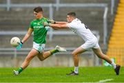 21 July 2018; Luke Kelly of Meath in action against John Lynch of Kildare during the Electric Ireland Leinster GAA Football Minor Championship Final match between Meath and Kildare at Bord na Móna O'Connor Park in Tullamore, Co. Offaly. Photo by Piaras Ó Mídheach/Sportsfile