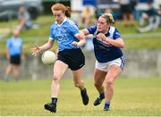 21 July 2018; Lauren Magee of Dublin in action against Grinne McGlade of Cavan during the TG4 All-Ireland Senior Championship Group 4 Round 2 match between Cavan and Dublin at Lannleire GFC in Dunleer, Co. Louth. Photo by Oliver McVeigh/Sportsfile