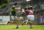 21 July 2018; Paudie Clifford of Kerry shoots to score his side's first goal despite the efforts of Cathal Reilly of Galway during the GAA Football All-Ireland Junior Championship Final match between Kerry and Galway at Cusack Park in Ennis, Co. Clare. Photo by Diarmuid Greene/Sportsfile