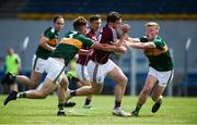 21 July 2018; Pádraic Cunningham of Galway in action against Dan O'Donoghue, left, and Evan Cronin of Kerry during the GAA Football All-Ireland Junior Championship Final match between Kerry and Galway at Cusack Park in Ennis, Co. Clare. Photo by Diarmuid Greene/Sportsfile