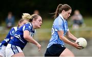 21 July 2018; Noelle Healy of Dublin in action against Grainne McGlade of Cavan during the TG4 All-Ireland Senior Championship Group 4 Round 2 match between Cavan and Dublin at Lannleire GFC in Dunleer, Co. Louth. Photo by Oliver McVeigh/Sportsfile