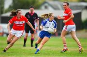 21 July 2018; Aoife McAnespie of Monaghan in action against Aine O'Sullivan of Cork during the TG4 All-Ireland Senior Championship Group 2 Round 2 match between Cork and Monaghan at St Brendan's Park in Birr, Co. Offaly.  Photo by Brendan Moran/Sportsfile