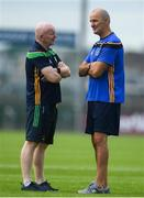 21 July 2018; Donegal manager Declan Bonner in conversation with Roscommon selector Liam McHale ahead of the GAA Football All-Ireland Senior Championship Quarter-Final Group 2 Phase 2 match between Roscommon and Donegal at Dr Hyde Park in Roscommon. Photo by Ramsey Cardy/Sportsfile