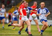 21 July 2018; Aine O'Sullivan of Cork in action against Rachel McKenna and Gráinne McNally of Monaghan during the TG4 All-Ireland Senior Championship Group 2 Round 2 match between Cork and Monaghan at St Brendan's Park in Birr, Co. Offaly.  Photo by Brendan Moran/Sportsfile