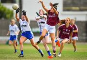 21 July 2018; Charlotte Cooney of Galway in action against Kate Hahessy and Emma Murray of Waterford during the TG4 All-Ireland Senior Championship Group 3 Round 2 match between Galway and Waterford at St Brendan's Park in Birr, Co. Offaly.  Photo by Brendan Moran/Sportsfile