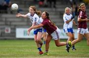21 July 2018; Kate McGrath of Waterford is tackled by Deirdre Brennan of Galway during the TG4 All-Ireland Senior Championship Group 3 Round 2 match between Galway and Waterford at St Brendan's Park in Birr, Co. Offaly.  Photo by Brendan Moran/Sportsfile