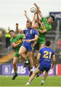 21 July 2018; Leo McLoone, left, Paddy McGrath, centre, and Michael Langan of Donegal, in action against Tadhg O'Rourke, left, and Padraig Kelly of Roscommon during the GAA Football All-Ireland Senior Championship Quarter-Final Group 2 Phase 2 match between Roscommon and Donegal at Dr Hyde Park in Roscommon. Photo by Ramsey Cardy/Sportsfile
