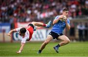 21 July 2018; Con O'Callaghan of Dublin in action against Mattie Donnelly of Tyrone during the GAA Football All-Ireland Senior Championship Quarter-Final Group 2 Phase 2 match between Tyrone and Dublin at Healy Park in Omagh, Tyrone. Photo by Stephen McCarthy/Sportsfile