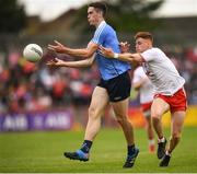 21 July 2018; Brian Fenton of Dublin in action against Conor Meyler of Tyrone during the GAA Football All-Ireland Senior Championship Quarter-Final Group 2 Phase 2 match between Tyrone and Dublin at Healy Park in Omagh, Tyrone. Photo by Stephen McCarthy/Sportsfile