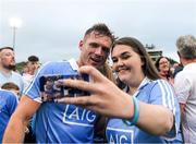 21 July 2018; Dublin supporter Lauren Glancy takes a selfie with Paul Flynn of Dublin after the GAA Football All-Ireland Senior Championship Quarter-Final Group 2 Phase 2 match between Tyrone and Dublin at Healy Park in Omagh, Tyrone. Photo by Ray McManus/Sportsfile