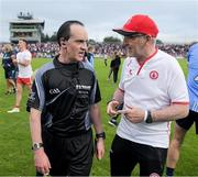21 July 2018; Tyrone manager Mickey Harte in conversation with referee David Coldrick after the GAA Football All-Ireland Senior Championship Quarter-Final Group 2 Phase 2 match between Tyrone and Dublin at Healy Park in Omagh, Tyrone. Photo by Ray McManus/Sportsfile