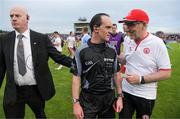21 July 2018; Referee David Coldrick is escorted off as he finishes a conversation with Tyrone manager Mickey Harte after the GAA Football All-Ireland Senior Championship Quarter-Final Group 2 Phase 2 match between Tyrone and Dublin at Healy Park in Omagh, Tyrone. Photo by Ray McManus/Sportsfile