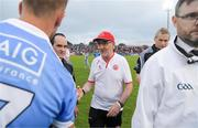 21 July 2018; Tyrone manager Mickey Harte shakes hands with referee David Coldrick as Jonny Cooper of Dublin waits his turn after the GAA Football All-Ireland Senior Championship Quarter-Final Group 2 Phase 2 match between Tyrone and Dublin at Healy Park in Omagh, Tyrone. Photo by Ray McManus/Sportsfile