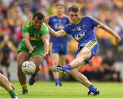 21 July 2018; Brian Stack of Roscommon shoots at goal despite the attention of Frank McGlynn of Donegal during the GAA Football All-Ireland Senior Championship Quarter-Final Group 2 Phase 2 match between Roscommon and Donegal at Dr.Hyde Park in Roscommon. Photo by Ramsey Cardy/Sportsfile