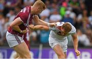 22 July 2018; Seán Andy Ó Ceallaigh of Galway and Paul Cribbin of Kildare tangle before the GAA Football All-Ireland Senior Championship Quarter-Final Group 1 Phase 2 match between Kildare and Galway at St Conleth's Park in Newbridge, Co Kildare. Photo by Piaras Ó Mídheach/Sportsfile