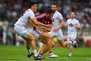 22 July 2018; Damien Comer of Galway in action against Mick O'Grady of Kildare during the GAA Football All-Ireland Senior Championship Quarter-Final Group 1 Phase 2 match between Kildare and Galway at St Conleth's Park in Newbridge, Co Kildare. Photo by Sam Barnes/Sportsfile