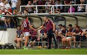 22 July 2018; Michael Daly of Galway shakes hands with his manager Kevin Walsh after being taken off in the first half during the GAA Football All-Ireland Senior Championship Quarter-Final Group 1 Phase 2 match between Kildare and Galway at St Conleth's Park in Newbridge, Co Kildare. Photo by Piaras Ó Mídheach/Sportsfile