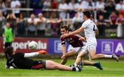 22 July 2018; Patrick Sweeney of Galway has his shot saved by Mark Donnellan of Kildare during the GAA Football All-Ireland Senior Championship Quarter-Final Group 1 Phase 2 match between Kildare and Galway at St Conleth's Park in Newbridge, Co Kildare. Photo by Sam Barnes/Sportsfile