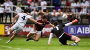 22 July 2018; Patrick Sweeney of Galway in action against Mick O'Grady, left and Mark Donnellan of Kildare during the GAA Football All-Ireland Senior Championship Quarter-Final Group 1 Phase 2 match between Kildare and Galway at St Conleth's Park in Newbridge, Co Kildare. Photo by Sam Barnes/Sportsfile