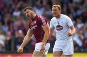 22 July 2018; Damien Comer of Galway reacts after his second half goal was ruled out by referee Seán Hurson for over-carrying, as Tommy Moolick of Kildare celebrates, during the GAA Football All-Ireland Senior Championship Quarter-Final Group 1 Phase 2 match between Kildare and Galway at St Conleth's Park in Newbridge, Co Kildare. Photo by Piaras Ó Mídheach/Sportsfile