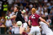22 July 2018; The ball gets past Galway goalkeeper Ruairí Lavelle before bouncing over the bar for a point for Daniel Flynn, for Kildare's first point, during the GAA Football All-Ireland Senior Championship Quarter-Final Group 1 Phase 2 match between Kildare and Galway at St Conleth's Park in Newbridge, Co Kildare. Photo by Piaras Ó Mídheach/Sportsfile