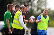 22 July 2018; Waterford manager Alan Reynolds speaks with referee Robert Harvey at half time of the SSE Airtricity League Premier Division match between Waterford and Shamrock Rovers at the RSC in Waterford. Photo by Stephen McCarthy/Sportsfile