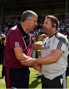 22 July 2018; Galway manager Kevin Walsh and Kildare manager Cian O'Neill shake hands following the GAA Football All-Ireland Senior Championship Quarter-Final Group 1 Phase 2 match between Kildare and Galway at St Conleth's Park in Newbridge, Co Kildare. Photo by Sam Barnes/Sportsfile