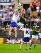22 July 2018; Kieran Duffy of Monaghan in action against Jack Barry of Kerry during the GAA Football All-Ireland Senior Championship Quarter-Final Group 1 Phase 2 match between Monaghan and Kerry at St Tiernach's Park in Clones, Monaghan. Photo by Brendan Moran/Sportsfile