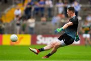 22 July 2018; Rory Beggan of Monaghan kicks a free during the GAA Football All-Ireland Senior Championship Quarter-Final Group 1 Phase 2 match between Monaghan and Kerry at St Tiernach's Park in Clones, Monaghan. Photo by Brendan Moran/Sportsfile