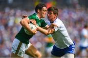 22 July 2018; Stephen O'Brien of Kerry is tackled by Darren Hughes of Monaghan during the GAA Football All-Ireland Senior Championship Quarter-Final Group 1 Phase 2 match between Monaghan and Kerry at St Tiernach's Park in Clones, Monaghan. Photo by Ramsey Cardy/Sportsfile