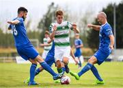 22 July 2018; Dylan Watts of Shamrock Rovers in action against David Webster, left, and Paul Keegan of Waterford during the SSE Airtricity League Premier Division match between Waterford and Shamrock Rovers at the RSC in Waterford. Photo by Stephen McCarthy/Sportsfile