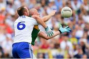 22 July 2018; Kieran Donaghy of Kerry in action against Vinny Corey of Monaghan during the GAA Football All-Ireland Senior Championship Quarter-Final Group 1 Phase 2 match between Monaghan and Kerry at St Tiernach's Park in Clones, Monaghan. Photo by Brendan Moran/Sportsfile