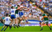 22 July 2018; Jack Barry of Kerry in action against Fintan Kelly, left, and Darren Hughes of Monaghan during the GAA Football All-Ireland Senior Championship Quarter-Final Group 1 Phase 2 match between Monaghan and Kerry at St Tiernach's Park in Clones, Monaghan. Photo by Ramsey Cardy/Sportsfile