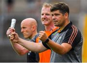 22 July 2018; Kerry manager Eamonn Fitzmaurice celebrates his side's only goal of the game, scored by David Clifford, during the GAA Football All-Ireland Senior Championship Quarter-Final Group 1 Phase 2 match between Monaghan and Kerry at St Tiernach's Park in Clones, Monaghan. Photo by Brendan Moran/Sportsfile