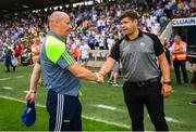 22 July 2018; Monaghan manager Malachy O'Rourke, left, shakes hands with Kerry manager Eamonn Fitzmaurice following their draw in the GAA Football All-Ireland Senior Championship Quarter-Final Group 1 Phase 2 match between Monaghan and Kerry at St Tiernach's Park in Clones, Monaghan. Photo by Ramsey Cardy/Sportsfile