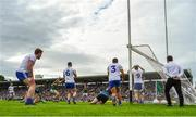 22 July 2018; Kerry players Paul Geaney and Stephen O'Brien and Monaghan players, from left, Kieran Duffy, Vinny Corey, Rory Beggan, Drew Wylie and Darren Hughes react to Kerry's last minute goal scored by David Clifford (out of picture) during the GAA Football All-Ireland Senior Championship Quarter-Final Group 1 Phase 2 match between Monaghan and Kerry at St Tiernach's Park in Clones, Monaghan. Photo by Brendan Moran/Sportsfile