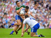 22 July 2018; Drew Wylie of Monaghan is tackled by David Clifford of Kerry during the GAA Football All-Ireland Senior Championship Quarter-Final Group 1 Phase 2 match between Monaghan and Kerry at St Tiernach's Park in Clones, Monaghan. Photo by Brendan Moran/Sportsfile