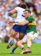 22 July 2018; Darran O'Sullivan of Kerry tackles Drew Wylie of Monaghan during the GAA Football All-Ireland Senior Championship Quarter-Final Group 1 Phase 2 match between Monaghan and Kerry at St Tiernach's Park in Clones, Monaghan. Photo by Brendan Moran/Sportsfile