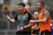 22 July 2018; Kerry manager Eamonn Fitzmaurice, left, and selector Padraig Corcoran during the GAA Football All-Ireland Senior Championship Quarter-Final Group 1 Phase 2 match between Monaghan and Kerry at St Tiernach's Park in Clones, Monaghan. Photo by Brendan Moran/Sportsfile