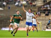 22 July 2018; Darren Hughes of Monaghan in action against Paul Geaney of Kerry during the GAA Football All-Ireland Senior Championship Quarter-Final Group 1 Phase 2 match between Monaghan and Kerry at St Tiernach's Park in Clones, Monaghan. Photo by Philip Fitzpatrick/Sportsfile
