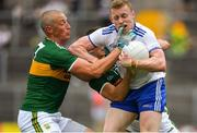 22 July 2018; Colin Walshe of Monaghan in action against Kieran Donaghy of Kerry during the GAA Football All-Ireland Senior Championship Quarter-Final Group 1 Phase 2 match between Monaghan and Kerry at St Tiernach's Park in Clones, Monaghan. Photo by Brendan Moran/Sportsfile