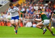 22 July 2018; Darren Hughes of Monaghan in action against Seán O'Shea of Kerry during the GAA Football All-Ireland Senior Championship Quarter-Final Group 1 Phase 2 match between Monaghan and Kerry at St Tiernach's Park in Clones, Monaghan. Photo by Philip Fitzpatrick/Sportsfile