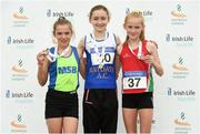 22 July 2018; Sophie Quinn from Ratoath A.C. Co Meath who won the girls under-14 1500m from second place  Aoife  Brown from Metro St. Brigid's A.C. Co Dublin and third place Katie McCleery from City of Lisburn A.C. Co Antrim during Irish Life Health National T&F Juvenile Day 3 at Tullamore Harriers Stadium in Tullamore, Co Offaly. Photo by Matt Browne/Sportsfile