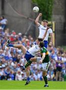 22 July 2018; Darren Hughes of Monaghan contests possession ahead of David Moran of Kerry during the GAA Football All-Ireland Senior Championship Quarter-Final Group 1 Phase 2 match between Monaghan and Kerry at St Tiernach's Park in Clones, Monaghan. Photo by Brendan Moran/Sportsfile