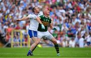 22 July 2018; Kieran Donaghy of Kerry and Vinny Corey of Monaghan watch a dropping ball during the GAA Football All-Ireland Senior Championship Quarter-Final Group 1 Phase 2 match between Monaghan and Kerry at St Tiernach's Park in Clones, Monaghan. Photo by Brendan Moran/Sportsfile