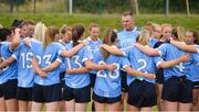 21 July 2018; Dublin manager Mick Bohan speaks to his players before the TG4 All-Ireland Senior Championship Group 4 Round 2 match between Cavan and Dublin at Lannleire GFC in Dunleer, Co. Louth. Photo by Oliver McVeigh/Sportsfile