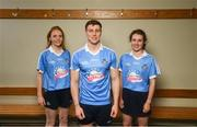24 July 2018; AIG Insurance has today announced a Dublin GAA jersey takeover, children's charity Aoibheann's Pink Tie's logo will appear on the Dublin GAA jerseys for an upcoming football, ladies football and camogie fixture this summer. Dublin players, from left, Ciara Trant, John Small and Doireann Mullany were on hand today to launch Aoibheann's Pink Tie Dublin GAA jersey takeover in Parnell Park. Photo by David Fitzgerald/Sportsfile