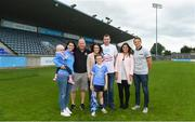 24 July 2018; AIG Insurance has today announced a Dublin GAA jersey takeover, children's charity Aoibheann's Pink Tie's logo will appear on the Dublin GAA jerseys for an upcoming football, ladies football and camogie fixture this summer. Attendees, from left, Lorraine Goves with her daughter Evie, age 2, who benefited from the childrens charity Aoibheanns Pink Tie, Mick Rochford, Co-Founder of Aoibheann's Pink Tie, Rebecca Claffey, AIG Representative, Sean Groves, age 8, John Groves, Naomi Sabherwal, AIG Representative and Tomas Quinn, Dublin GAA Representative at the Aoibheann's Pink Tie Dublin GAA jersey takeover in Parnell Park. Photo by David Fitzgerald/Sportsfile