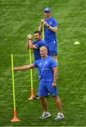 24 July 2018; Leinster senior coach Stuart Lancaster, Leinster scrum coach John Fogarty and Leinster head coach Leo Cullen during Leinster Rugby squad training at Energia Park in Donnybrook, Dublin. Photo by Ramsey Cardy/Sportsfile